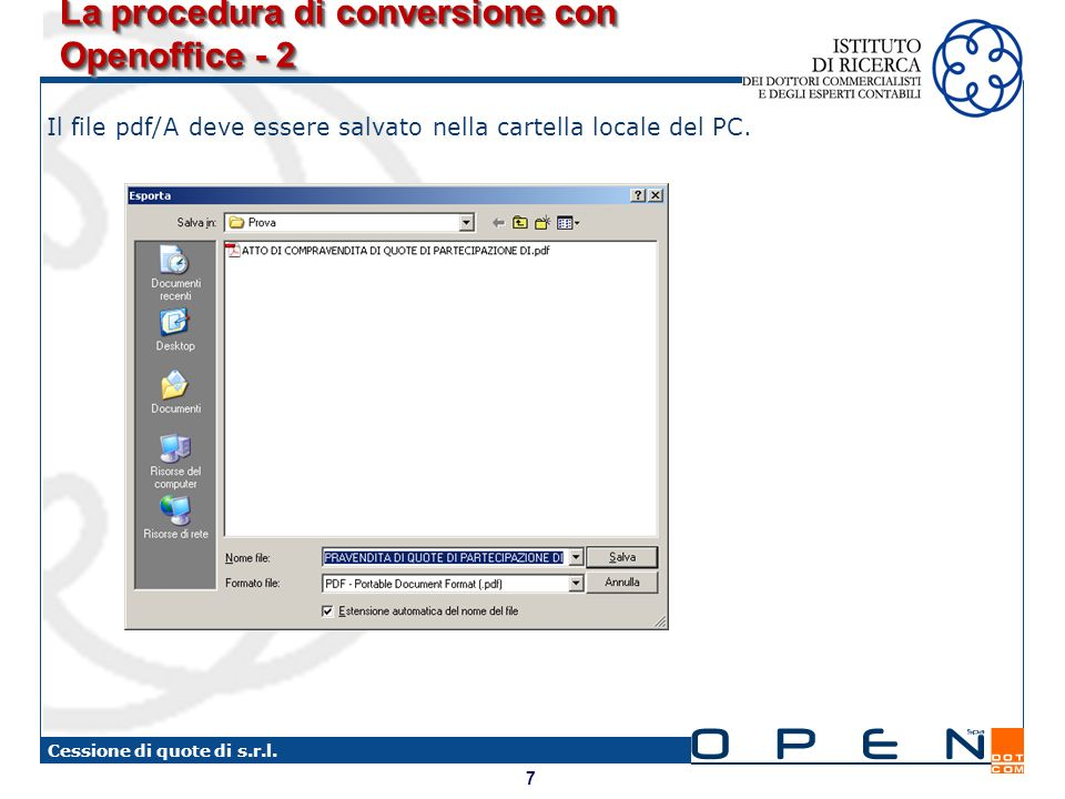 La procedura di conversione con Openoffice - 2
