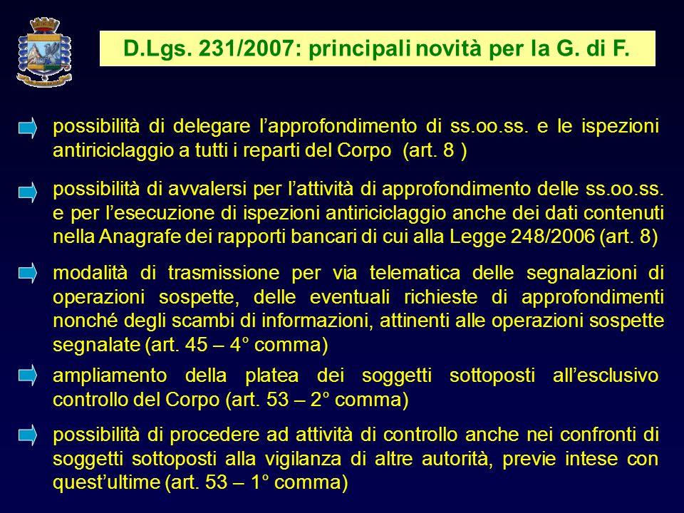 D.Lgs. 231/2007: principali novità per la G. di F.