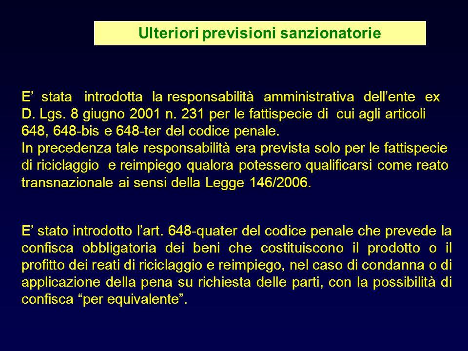 Ulteriori previsioni sanzionatorie