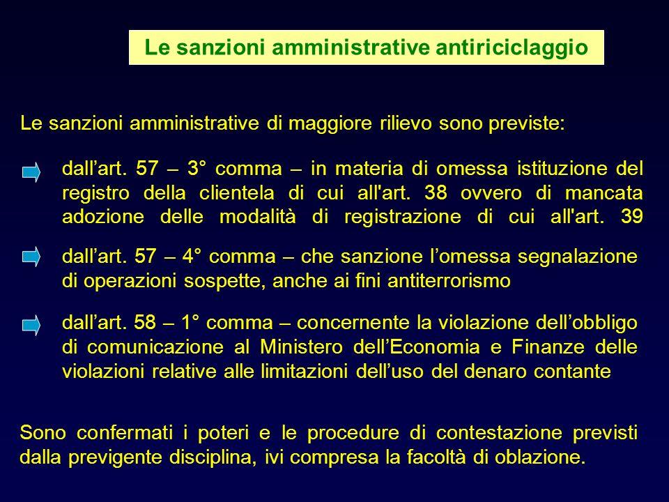 Le sanzioni amministrative antiriciclaggio
