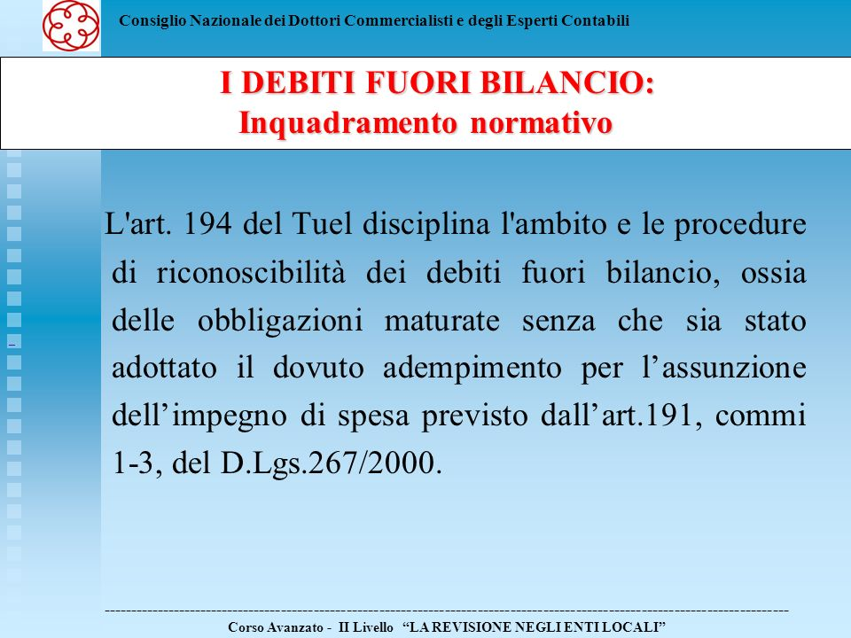 I DEBITI FUORI BILANCIO: Inquadramento normativo
