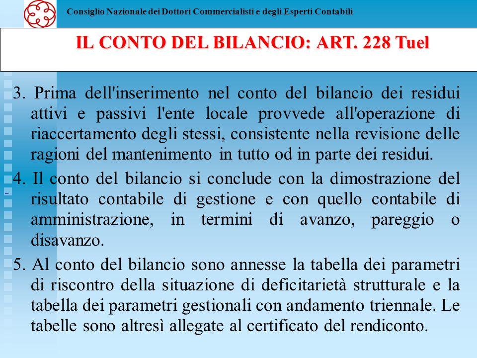 IL CONTO DEL BILANCIO: ART. 228 Tuel