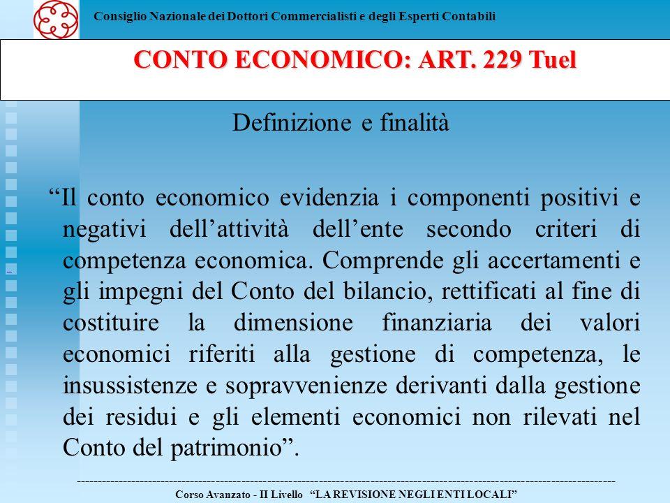 CONTO ECONOMICO: ART. 229 Tuel