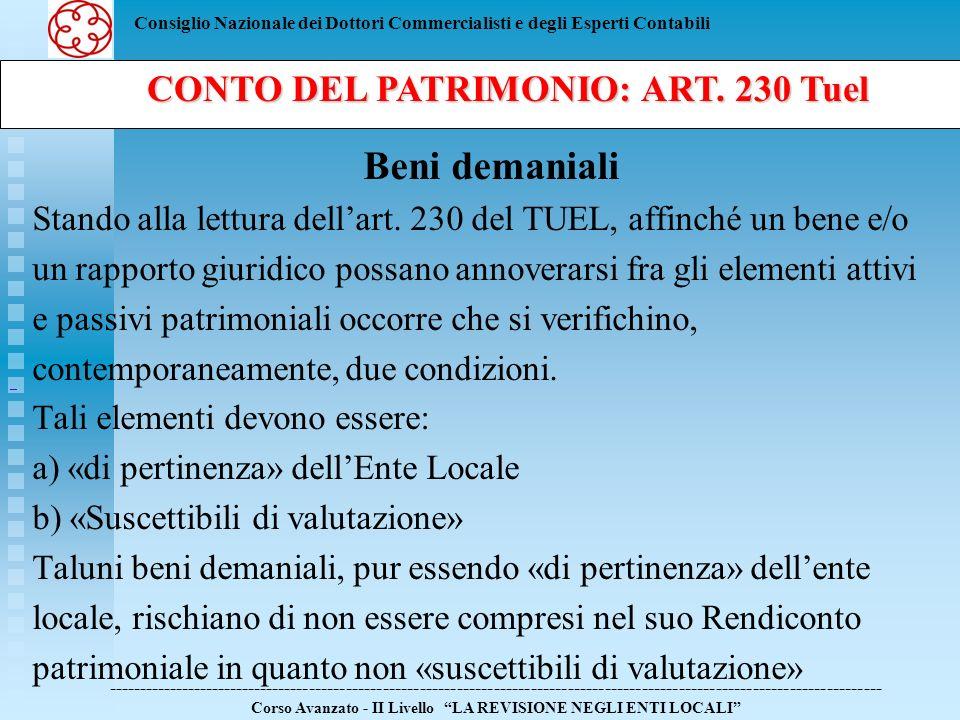 CONTO DEL PATRIMONIO: ART. 230 Tuel