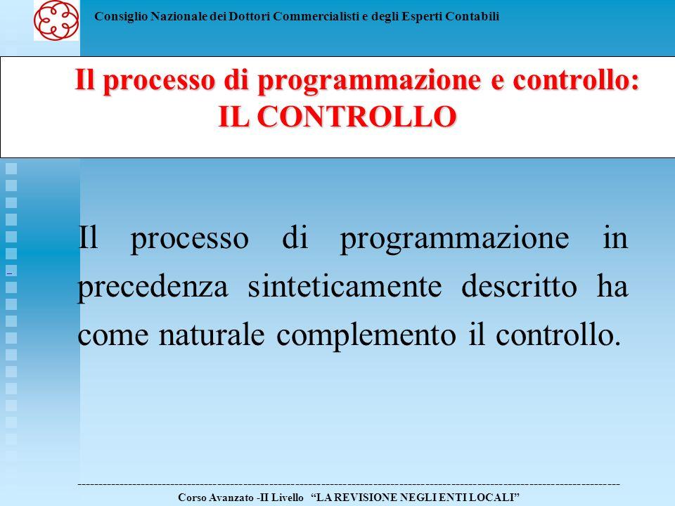 Il processo di programmazione e controllo: IL CONTROLLO