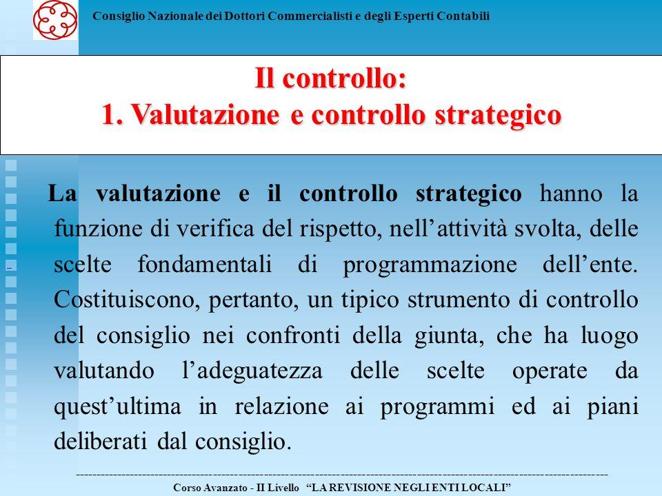 1. Valutazione e controllo strategico