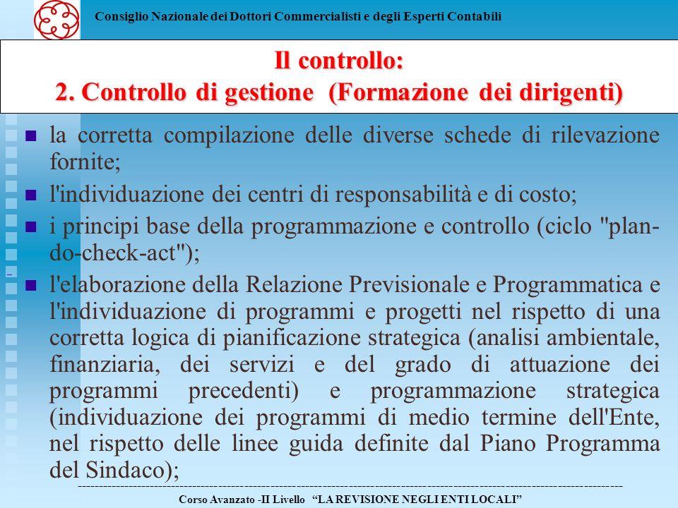 2. Controllo di gestione (Formazione dei dirigenti)