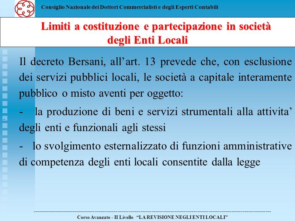 Limiti a costituzione e partecipazione in società