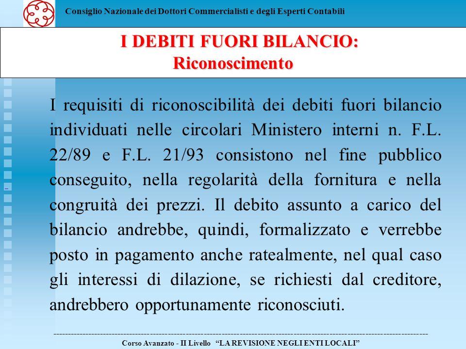I DEBITI FUORI BILANCIO: