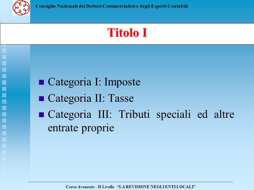 Categoria III: Tributi speciali ed altre entrate proprie
