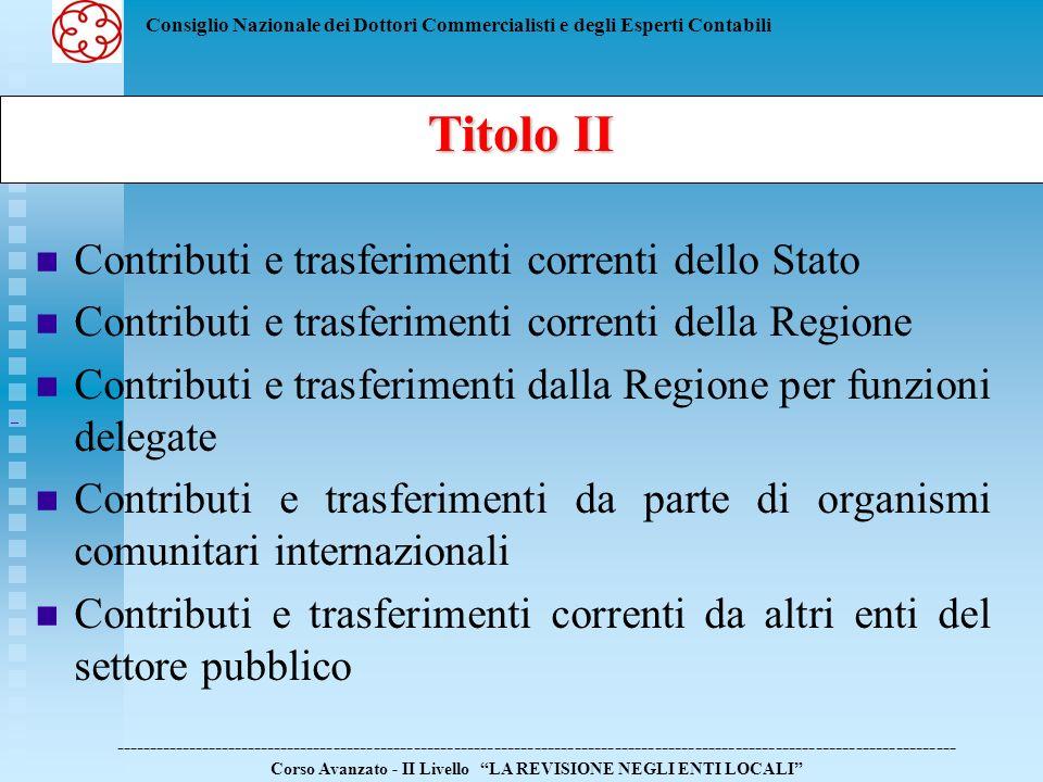 Titolo II Contributi e trasferimenti correnti dello Stato