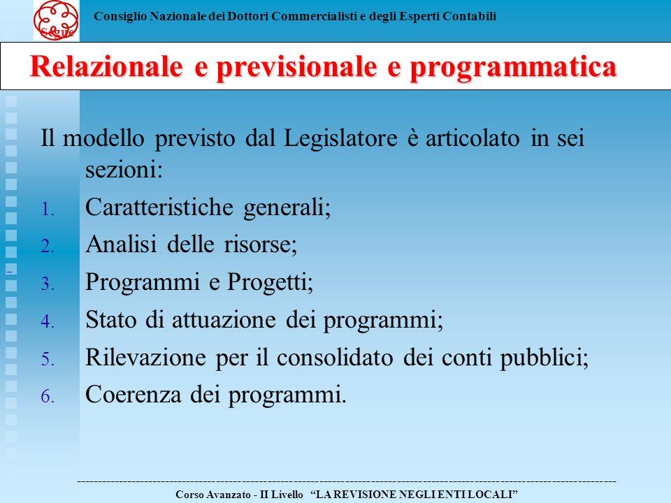Relazionale e previsionale e programmatica