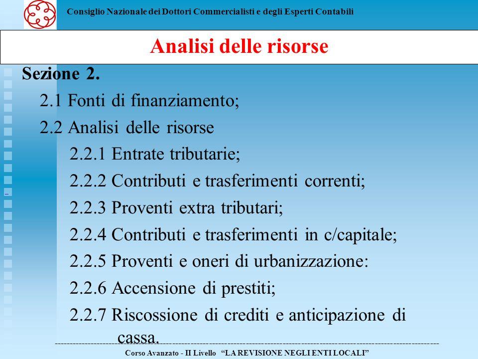 Analisi delle risorse Sezione 2. 2.1 Fonti di finanziamento;