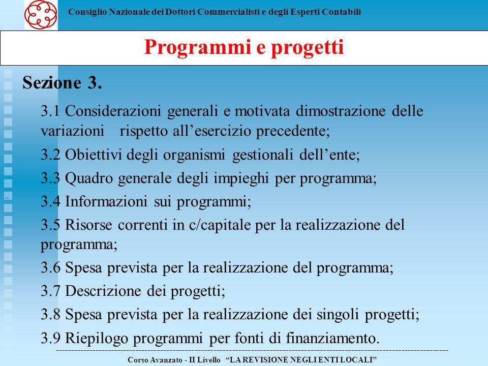 Programmi e progetti Sezione 3.