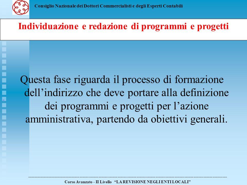 Individuazione e redazione di programmi e progetti