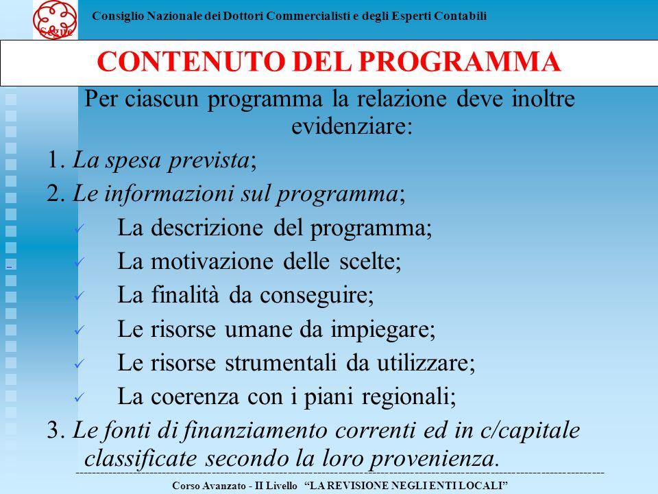 CONTENUTO DEL PROGRAMMA