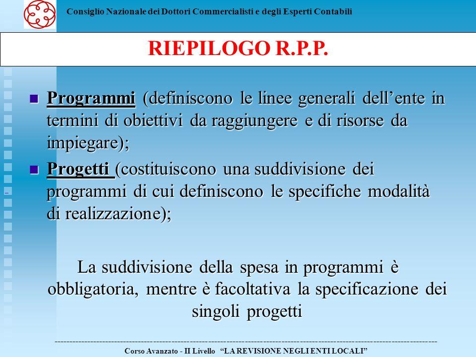 RIEPILOGO R.P.P. Programmi (definiscono le linee generali dell'ente in termini di obiettivi da raggiungere e di risorse da impiegare);