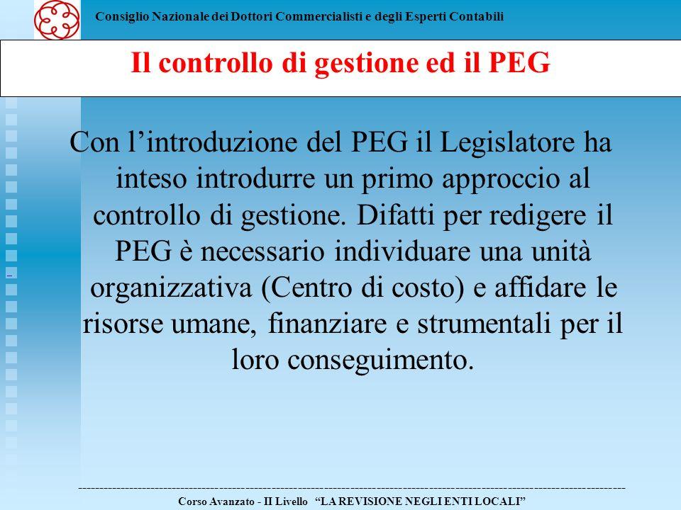 Il controllo di gestione ed il PEG