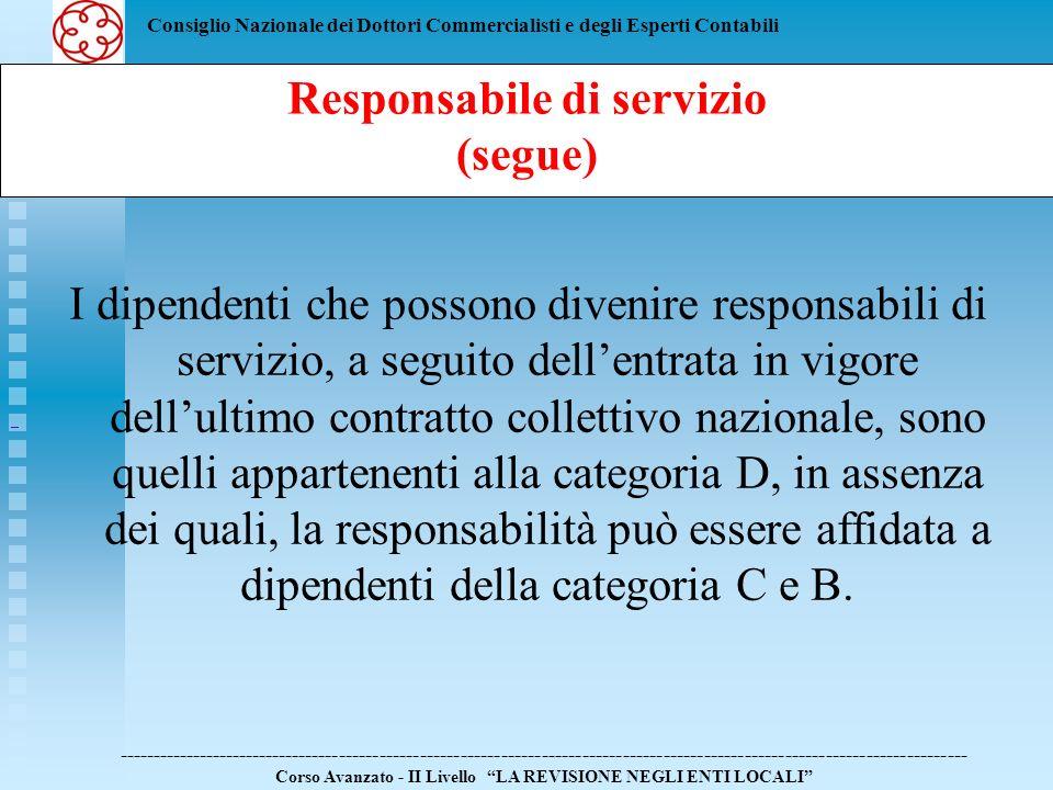 Responsabile di servizio (segue)