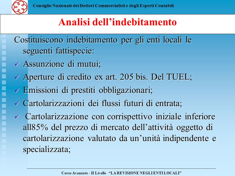Analisi dell'indebitamento