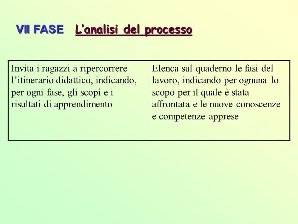 VII FASE L'analisi del processo