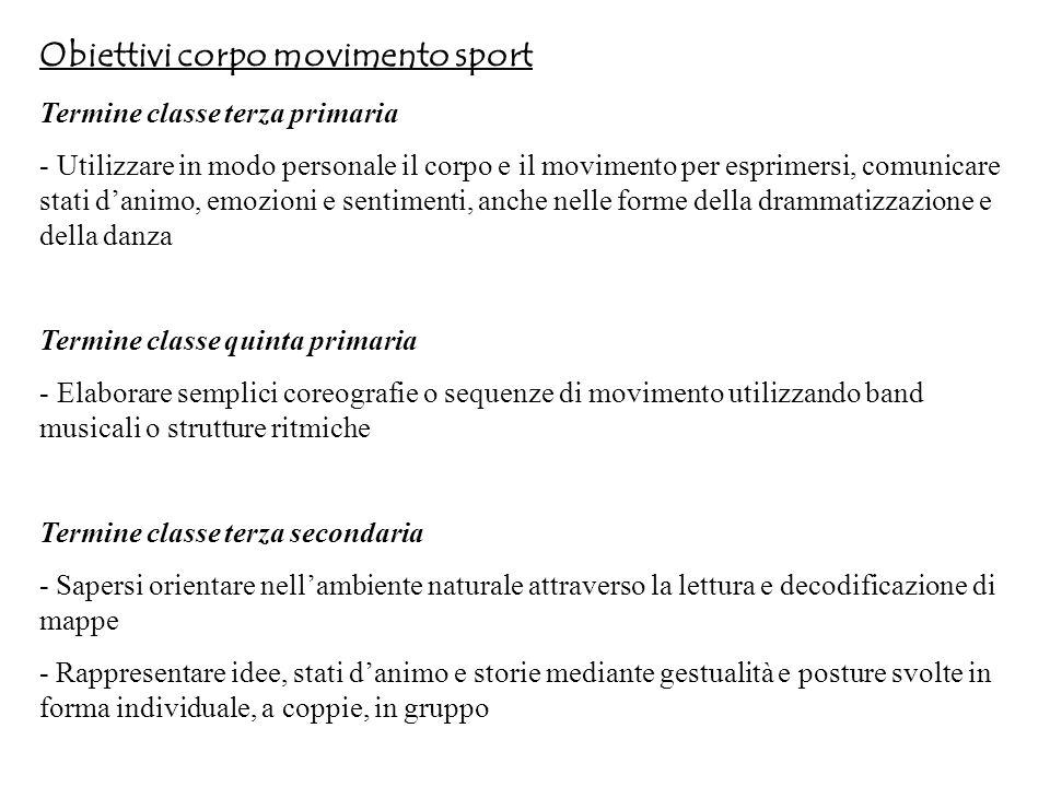 Obiettivi corpo movimento sport