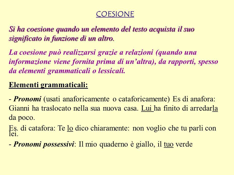 COESIONE Si ha coesione quando un elemento del testo acquista il suo significato in funzione di un altro.