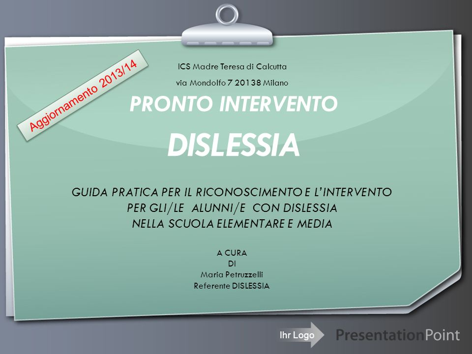 PRONTO INTERVENTO DISLESSIA