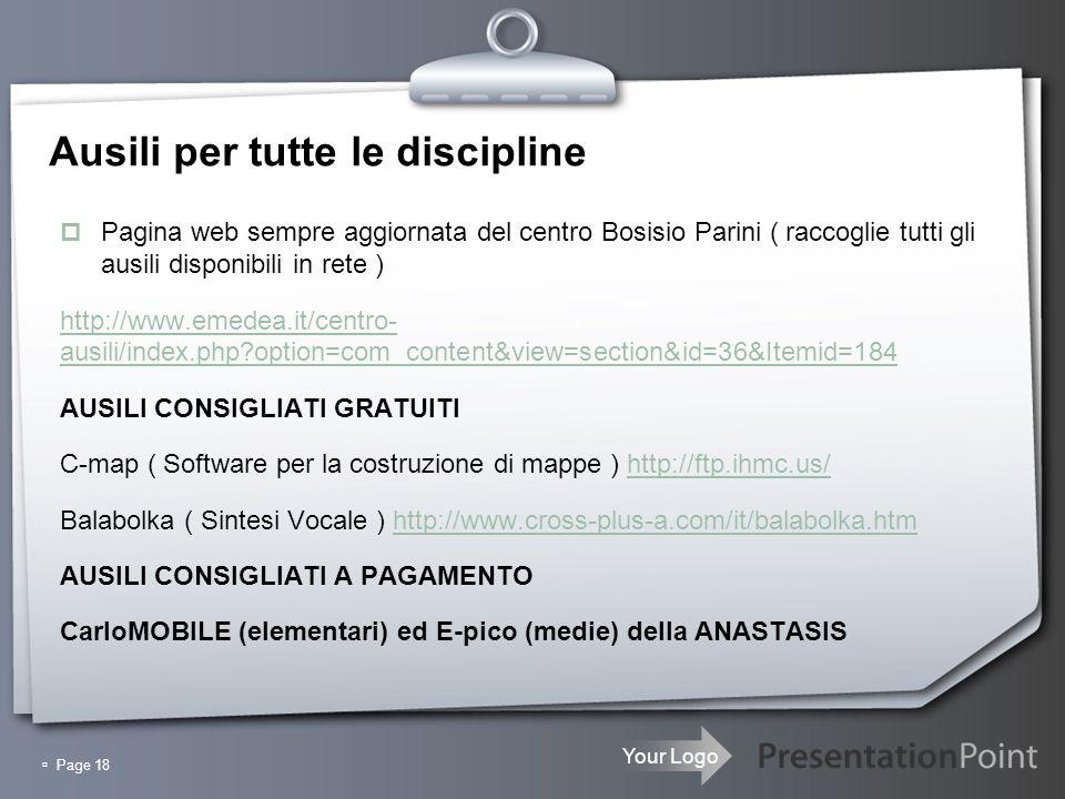 Ausili per tutte le discipline