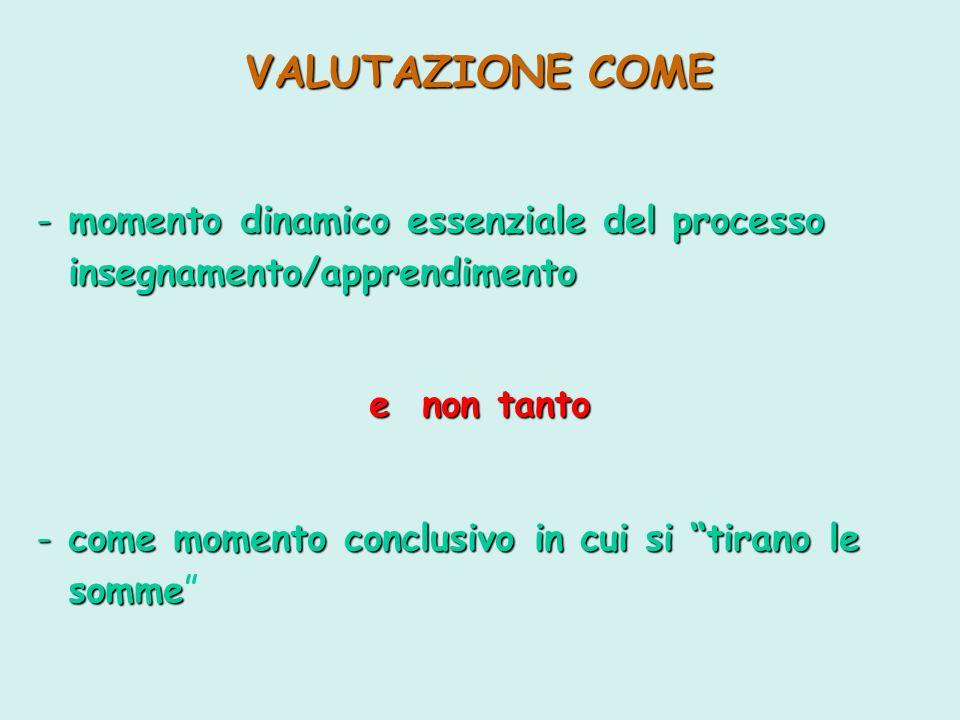 VALUTAZIONE COME momento dinamico essenziale del processo
