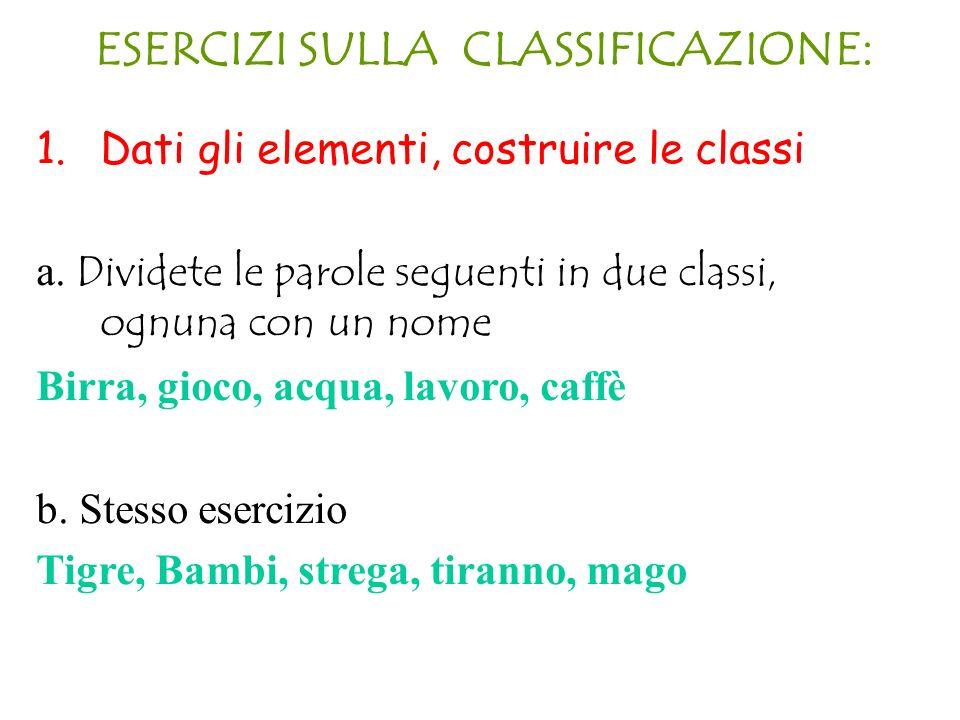 ESERCIZI SULLA CLASSIFICAZIONE: