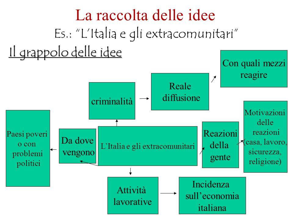La raccolta delle idee Es.: L'Italia e gli extracomunitari