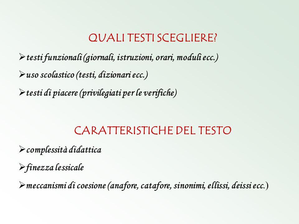 CARATTERISTICHE DEL TESTO