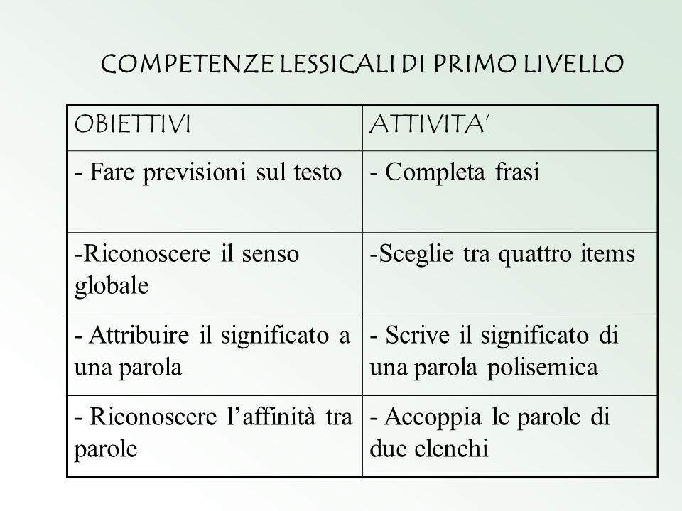 COMPETENZE LESSICALI DI PRIMO LIVELLO