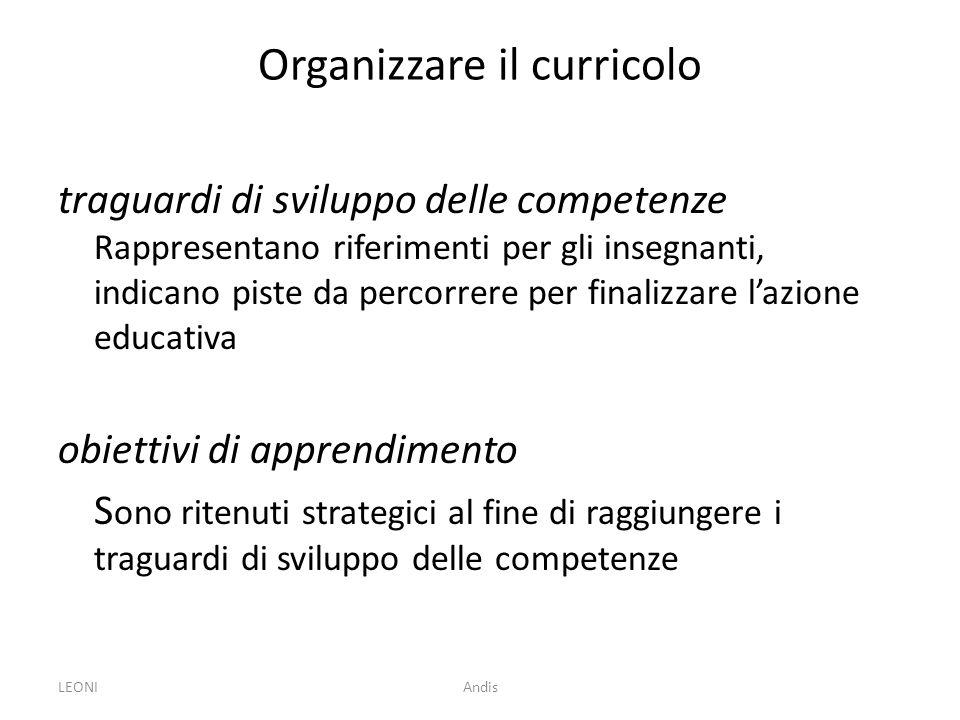 Organizzare il curricolo