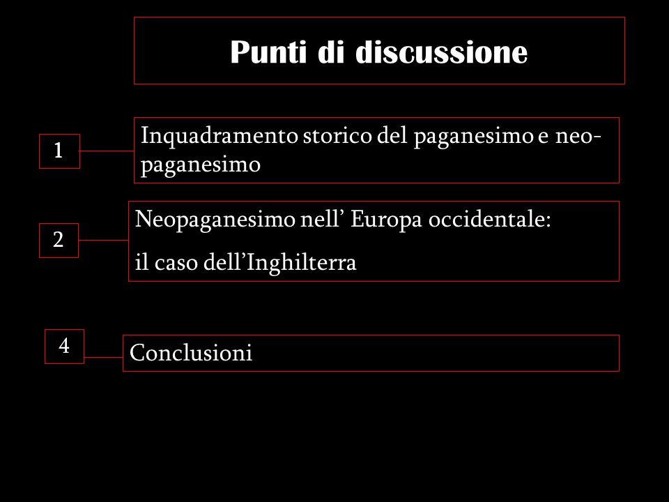 Punti di discussione Inquadramento storico del paganesimo e neo-paganesimo. 1. Neopaganesimo nell' Europa occidentale: