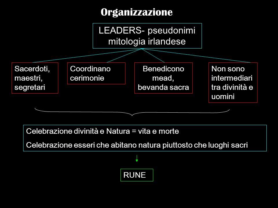 Organizzazione LEADERS- pseudonimi mitologia irlandese