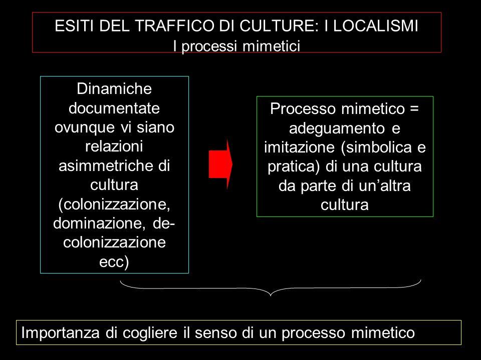 ESITI DEL TRAFFICO DI CULTURE: I LOCALISMI I processi mimetici