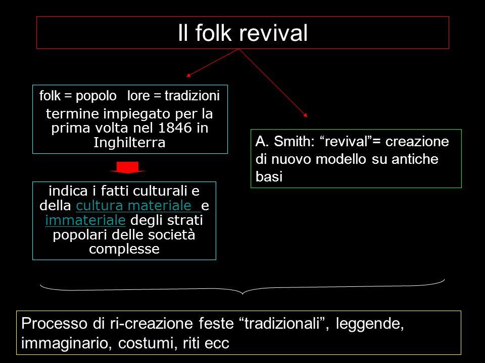 Il folk revival folk = popolo lore = tradizioni. termine impiegato per la prima volta nel 1846 in Inghilterra.
