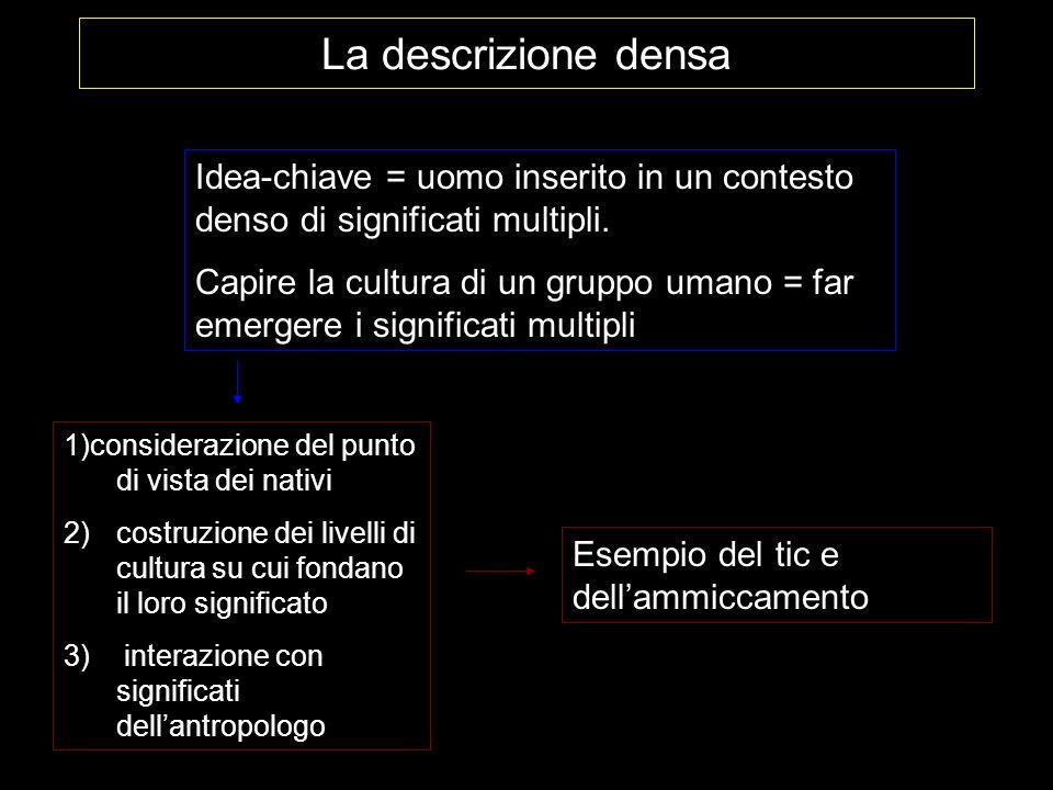 La descrizione densa Idea-chiave = uomo inserito in un contesto denso di significati multipli.