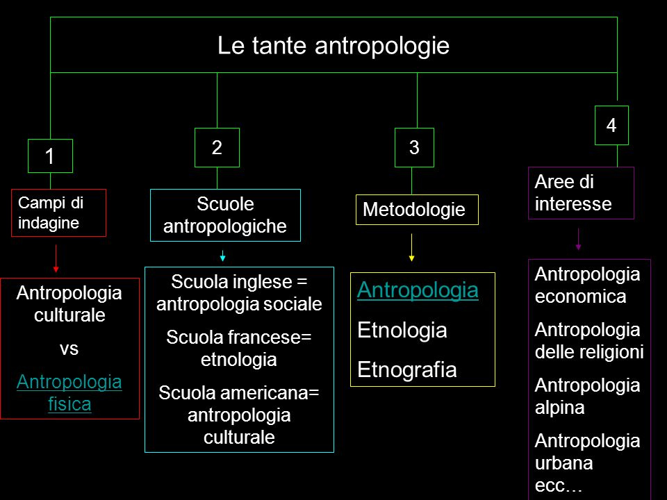 Le tante antropologie 1 Antropologia Etnologia Etnografia 4 2 3