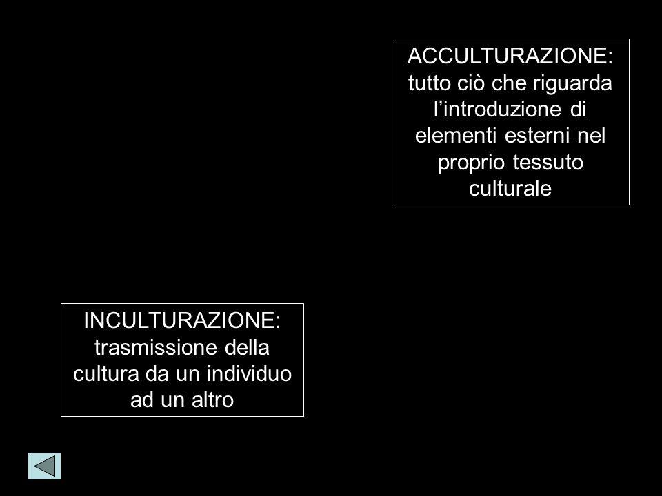 INCULTURAZIONE: trasmissione della cultura da un individuo ad un altro