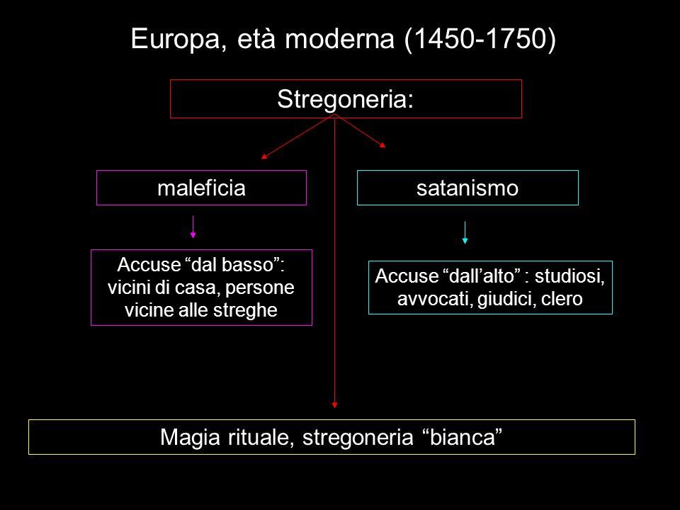 Europa, età moderna (1450-1750) Stregoneria: maleficia satanismo