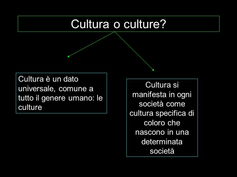 Cultura o culture Cultura è un dato universale, comune a tutto il genere umano: le culture.