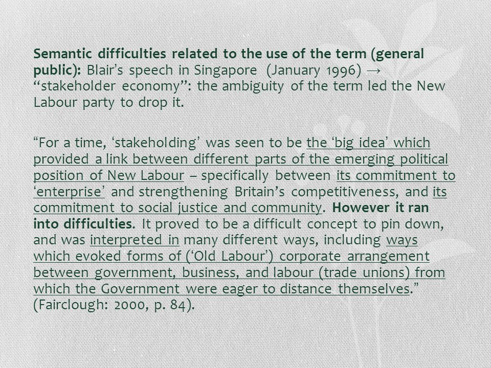 Semantic difficulties related to the use of the term (general public): Blair's speech in Singapore (January 1996) → stakeholder economy : the ambiguity of the term led the New Labour party to drop it.