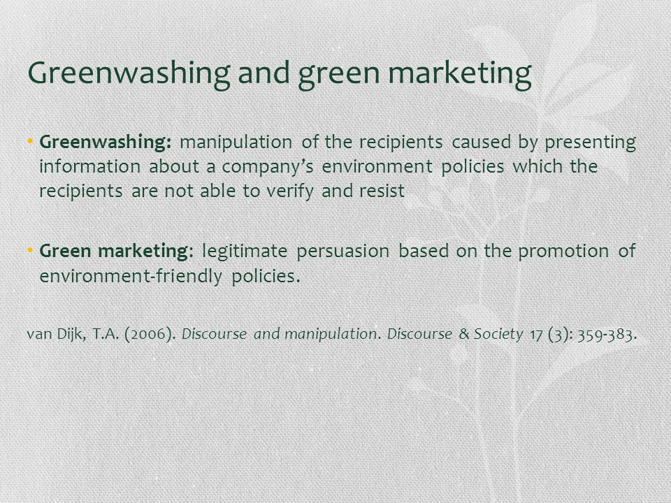 Greenwashing and green marketing