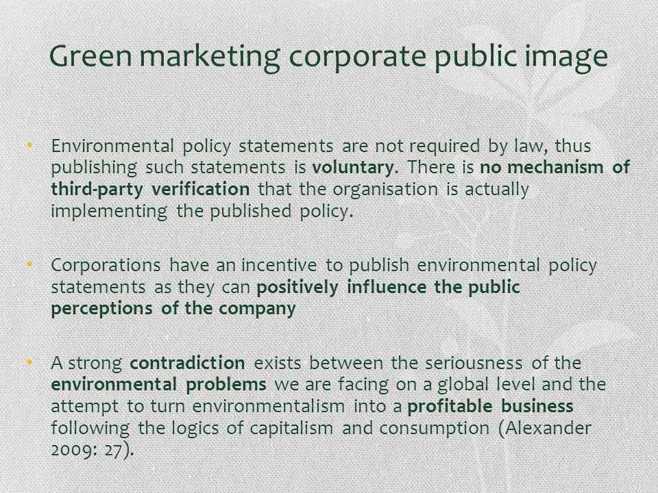 Green marketing corporate public image