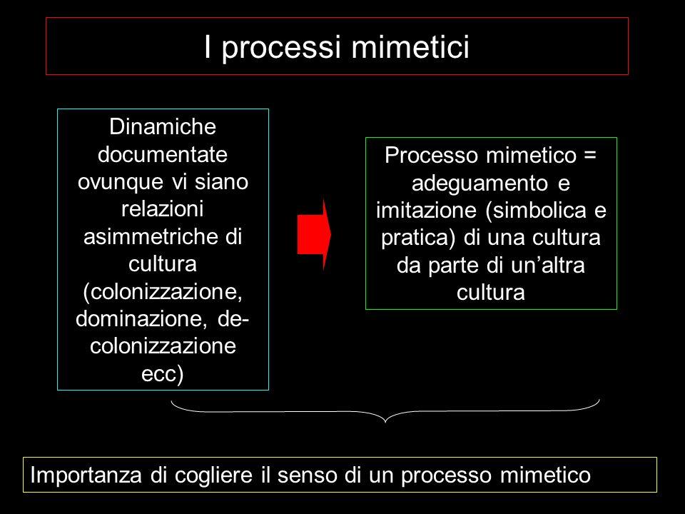 I processi mimetici Dinamiche documentate ovunque vi siano relazioni asimmetriche di cultura (colonizzazione, dominazione, de-colonizzazione ecc)