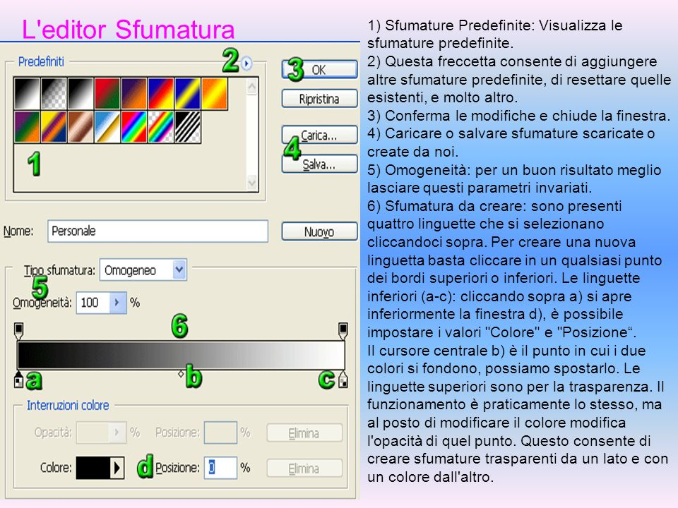 L editor Sfumatura 1) Sfumature Predefinite: Visualizza le sfumature predefinite.