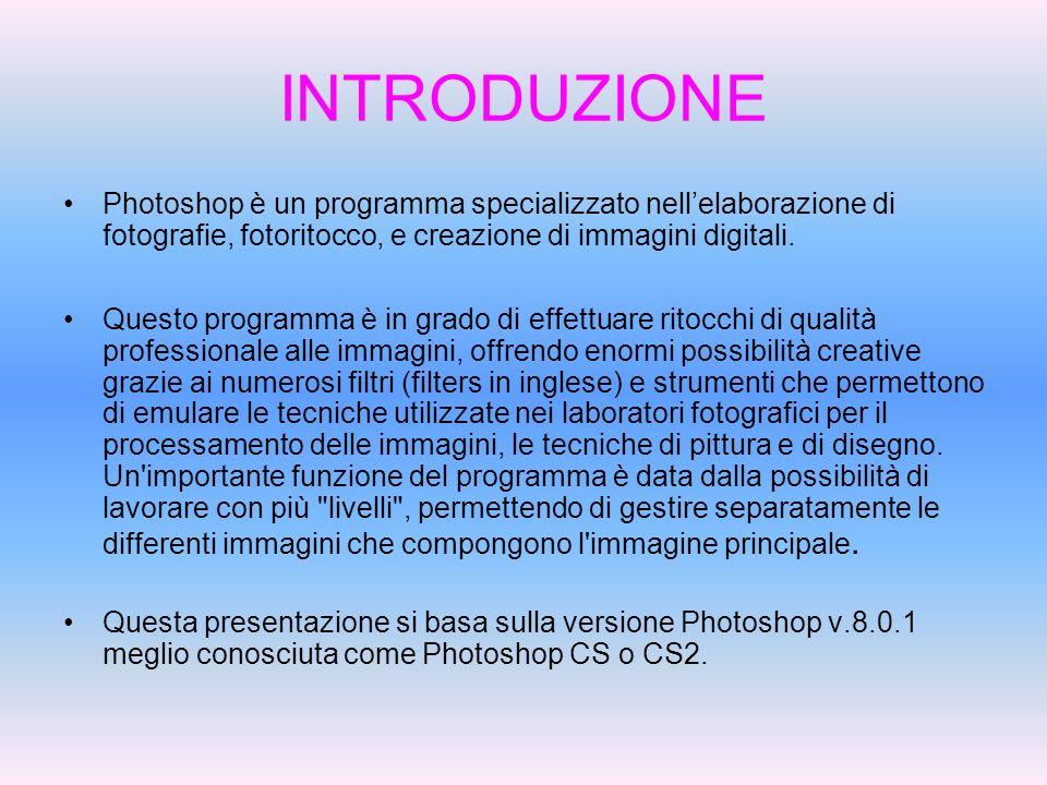 INTRODUZIONEPhotoshop è un programma specializzato nell'elaborazione di fotografie, fotoritocco, e creazione di immagini digitali.